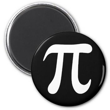 White pi symbol on black background 2 inch round magnet