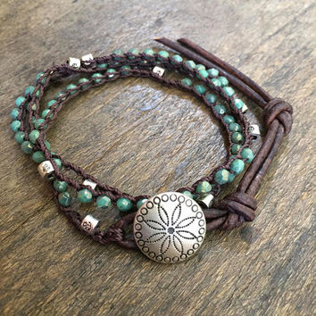 Indian Summer Crochet Bracelet, Turquoise Knotted Leather Wrap Concho Bracelet, Boho Crochet Jewelry by Two Silver Sisters