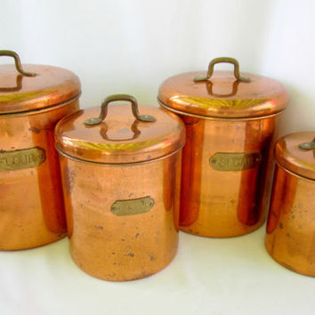 Copper Canisters Kettle Pots Nesting Vintage Country Kitchen Storage Decor