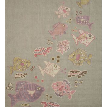 EORC Hand-tufted Wool Gray Transitional Animal Kid's Fish & Turtle Rug