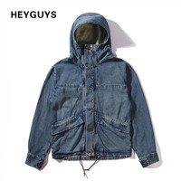 jacket men street blue Jacket Hip Hop high street Suit  Denim Jacket with hood  Men fashion Casual