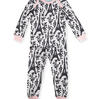Bedhead Eiffel Tower Pajama Shirt & Pants, White/Black/Pink