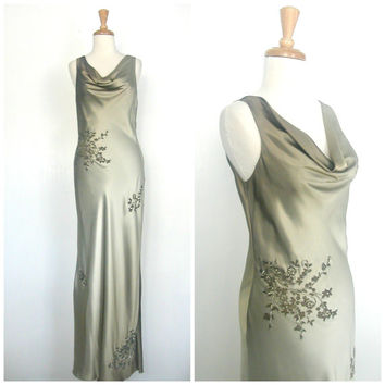 Vintage Beaded Dress / Lillie Rubin / green gown / evening dress / bombshell / alternative wedding / reception / fitted gown / M