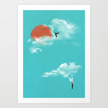 Skydivers (recolor) Art Print by Jay Fleck