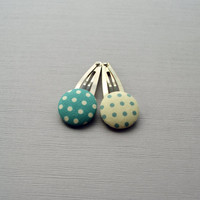 Polka Dot Barrette Set - Blue and White - Polka Dots - Spring - Summer - Buttons - Fabric - Hair Accessories - Under 10