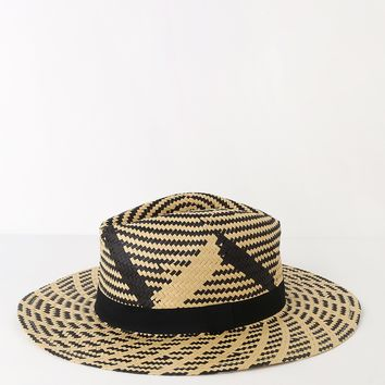 Safari So Good Beige and Black Woven Straw Fedora Hat