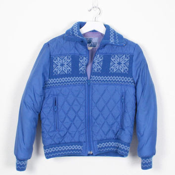 Vintage 1980s Jacket Blue Snowflake Knit Quilted Jacket Puffer Coat 1980s Jacket Slouch Fit Bomber Jacket Ski Jacket Winter Coat S Small