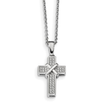 Sterling Silver & CZ Brilliant Embers Polished Cross Necklace QMP292