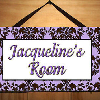 Kids Door Sign Purple Brown Damask Girls Teen Room Personalized Name Sign DS0312