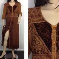 90s Hippie Dress Ethnic Embroidered Long Boho Dress Golden Brown Crinkle Gauze 1990s  Maxi Midi Festival Dress India Indian Dress Free Size