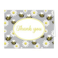 Happy Bee and Daisy Pattern Thank You Cards