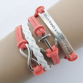changeshopping Nautical Rudder Anchor Bracelet Infinity Handmade Coffee Leather Rope Pink