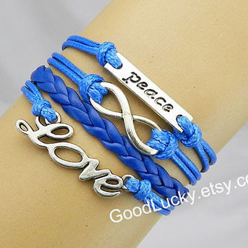 Unisex Fashion Ancient silver peace bracelet Infinite hope and love bracelet blue leather and blue Wax rope Braided leather bracelet