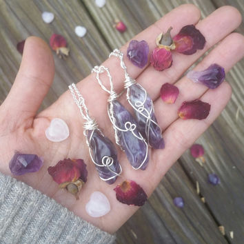 Amethyst necklace, big amethyst necklace, chevron amethyst necklace, tumbled amethyst, purple stone, , crystal , february birthstone
