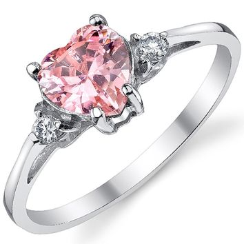 Sterling Silver 925 Pink Cubic Zirconia Love Ring Sizes 4 to 10