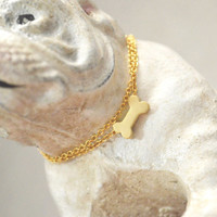 A-214 Gold dog bone necklace/Everyday jewelry/