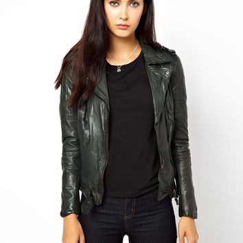 MuuBaa Nido Goats Leather Jacket with Quilted Shoulders