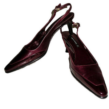 Vintage BRUNO MAGLI Italy Burgundy All Leather Slingback Low Kitten Heel Spectator Pumps 7.5M