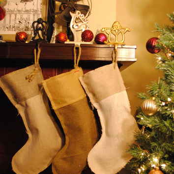 Rustic Modern Holiday Christmas Stockings Antique Looking Customized with Frayed Rough Edges, Grey & Natural Fabric Color Tones
