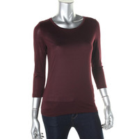J Brand Womens 3/4 Sleeves Jewel Neck Pullover Top