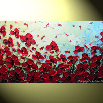 """Original Abstract Textured Red Poppies Painting, Flowers, Palette Knife, Poppy Blossoms Modern Red Blue Gold 24x48"""" -Christine"""