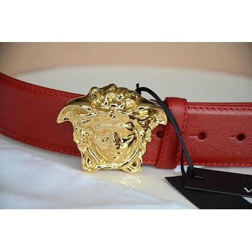 VERSACE GOLD BUCKLE HEAD MEDUSA RED BELT 3D SIZE 105/42 36-38