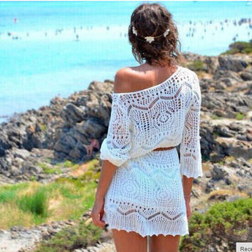 Womens Crochet Cutout Beach Cover Up