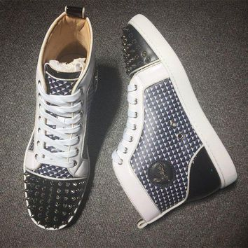 DCCK Cl Christian Louboutin Lou Spikes Style #2179 Sneakers Fashion Shoes
