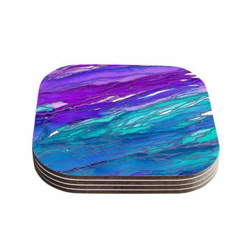 "Ebi Emporium ""Agate Magic - Purple Blue"" Aqua Lavender Coasters (Set of 4)"