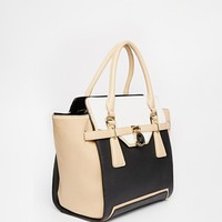 River Island Structured Winged Lock Gusset Tote