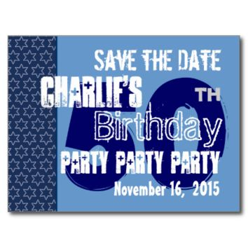 Modern Save the Date 50th Birthday Party Blue W02A Post Cards