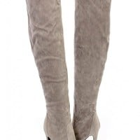 Grey Single Sole Thigh High Heel Boots Faux Suede