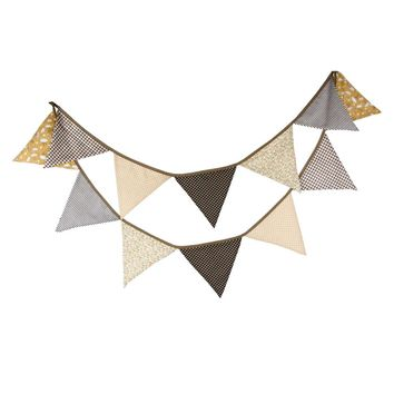 3.2M 12 Flags Vintage Banner Handmade Coffee Cotton Bunting Pennant Wedding Birthday Party Garland Decoration