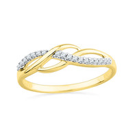 Diamond Accent Split Shank Waves Ring in Yellow Rhodium Plated Sterling Silver