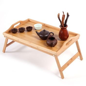 Portable Folding Bamboo Wood TV Tray Dinner Table Coffee Stand Serving Snack Tea
