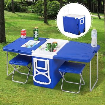 Rolling Cooler Picnic able w/  2 Chairs