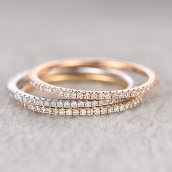 3pcs Full Eternity Band,Diamond Wedding Ring,White Yellow Rose gold,Anniversary Ring,stacking,Infinity,Matching band,Micro pave,Thin design