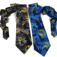 Batman tie, batman neck tie, mens batman tie, comic book tie, superhero tie, batman accessory, mens batman, necktie, batman symbol