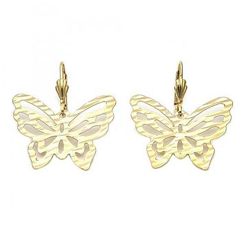 Gold Layered 5.106.011 Dangle Earring, Butterfly Design, Diamond Cutting Finish, Gold Tone