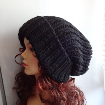 38059fda1c8 Super Slouchy Beanie Big Slouch Baggy Hat Winter Adult Teen Fashion Chunky Knit  Slouch Knitted Hat