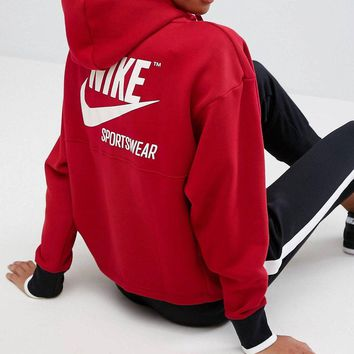 nike archive half zip hoody in red