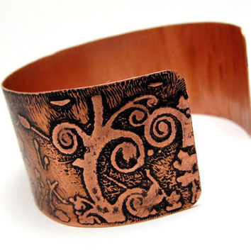 "Etched Copper Metal Cuff ""All You Need Is Love"" Bracelet Jewelry with Quote OOAK"