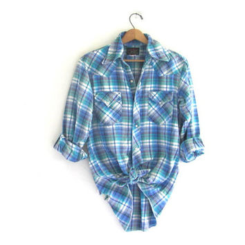 distressed Vintage Plaid Flannel / Grunge Shirt / Thick cotton pearl snap western shirt