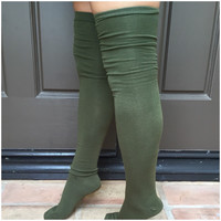 Knee High Boot Socks - OLIVE