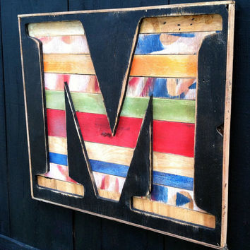 "X-Large Bold Times New Roman Letter ""M"" Reverse Shadow Box Initial - Rustic Wooden A B C D E F G H I  J K L M N O P Q R S T U V W X Y Z"