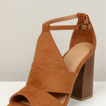 Cut Out Peep Toe Heel Cognac