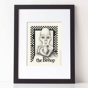 THE BISHOP,  Chess Series: Art print, black and white pen and ink drawing, ink illustration, pen drawing 8x10 Limited Edition fine art print