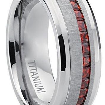 Men's Eternity Titanium Wedding Band Engagement Ring W/ Red Simulated Garnet Cubic Zirconia Princess cut CZ