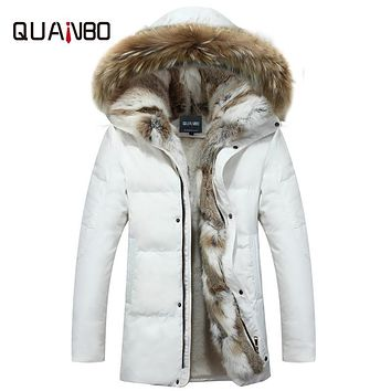 Men's and Women's Leisure Down Jacket 2017 Winter Thick Hood Detached Warm Waterproof Big Raccoon Fur Collar For -30 degrees