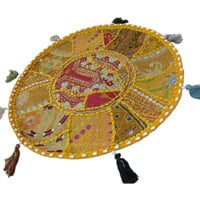 "17"" Yellow Indian Patchwork Embroidered Round Floor Pillow Cushion Seating Cover Ethnic Decorative Art."